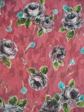 Bavlna lososová s šedými růžemi