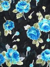 Bavlna černá s růžemi