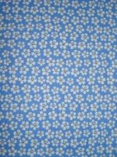 Bavlna - strech modrá s drobnými kytičkami