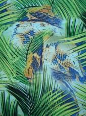 šatovka - palmové listy - zelenomodrá