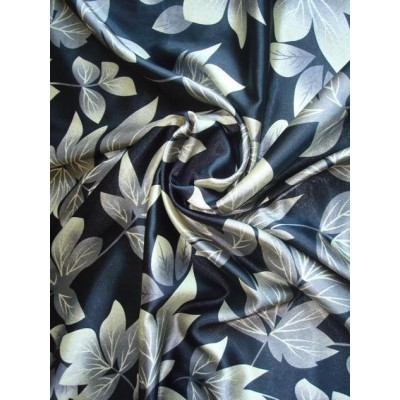 satén hedvábný - černý s šedými listy